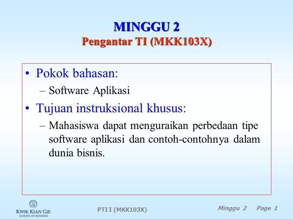 PTI I (MKK103X) Minggu 2 Page 1 MINGGU 2 Pengantar TI (MKK103X) Pokok bahasan: –Software Aplikasi Tujuan instruksional khusus: –Mahasiswa dapat menguraikan perbedaan tipe software aplikasi dan contoh-contohnya dalam dunia bisnis.