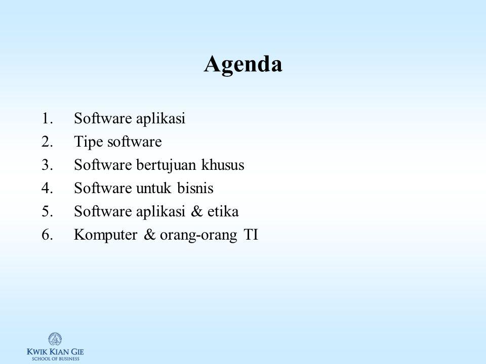 Agenda 1.Software aplikasi 2.Tipe software 3.Software bertujuan khusus 4.Software untuk bisnis 5.Software aplikasi & etika 6.Komputer & orang-orang TI