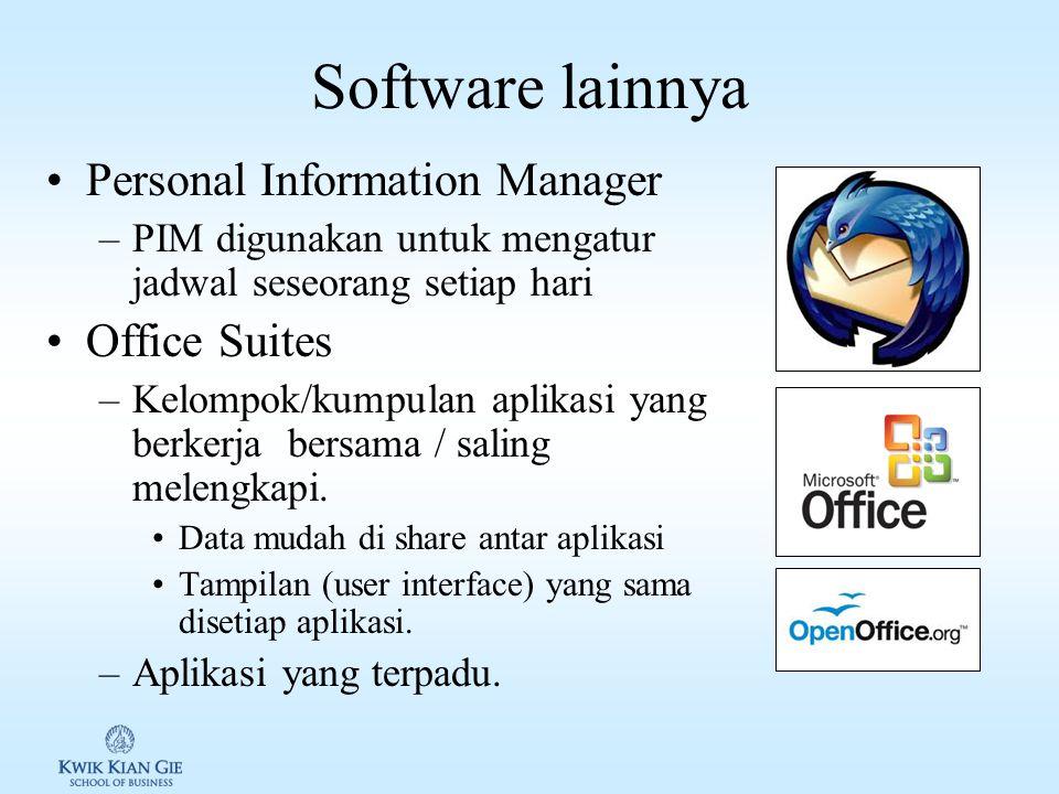 Communications Software komunikasi: menghubungkan komputer dengan komputer lain, melalui media telekomunikasi, umumnya internet.