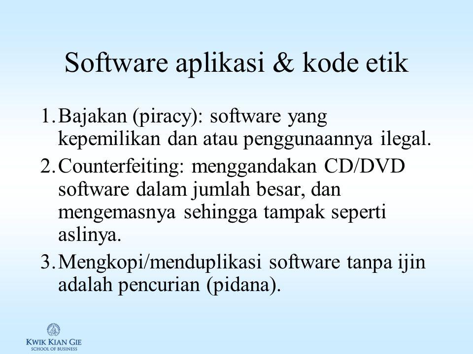 Software untuk bisnis 1.Vertical Market Software: software ditujukan untuk tipe usaha tertentu.