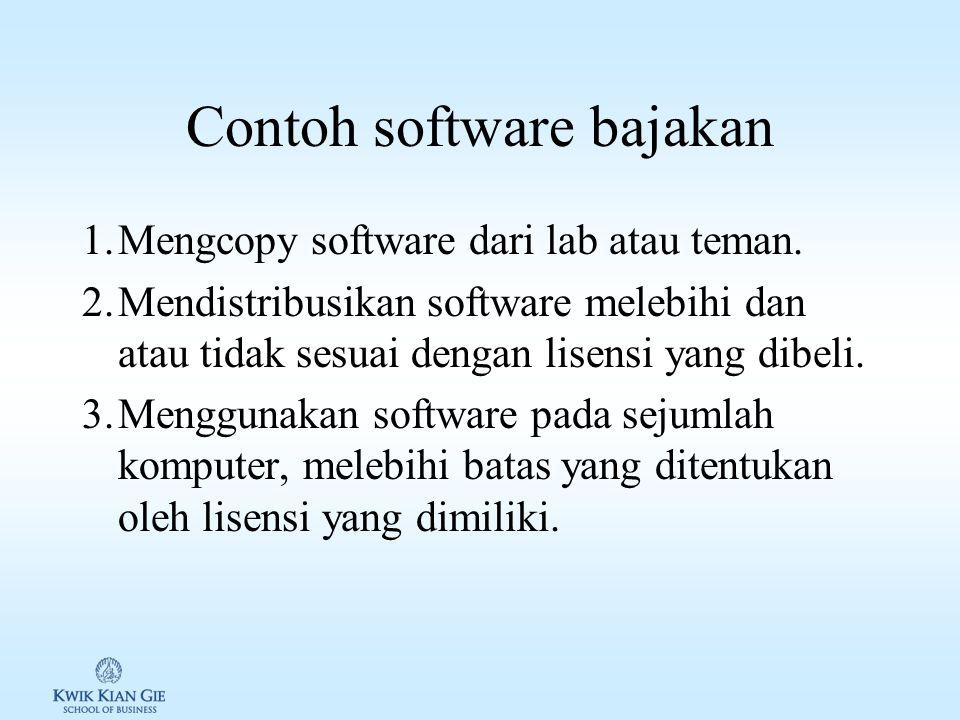 Software aplikasi & kode etik 1.Bajakan (piracy): software yang kepemilikan dan atau penggunaannya ilegal.
