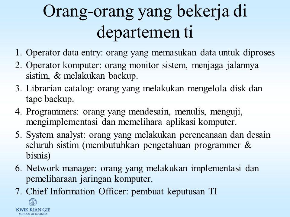 Komputer & orang-orang TI Umumnya organisasi memiliki departemen teknologi informasi yang bertanggung jawab terhadap: 1.Sumberdaya komputer.