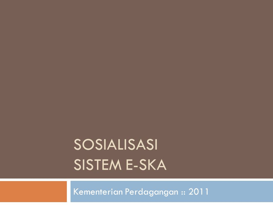 SOSIALISASI SISTEM E-SKA Kementerian Perdagangan :: 2011