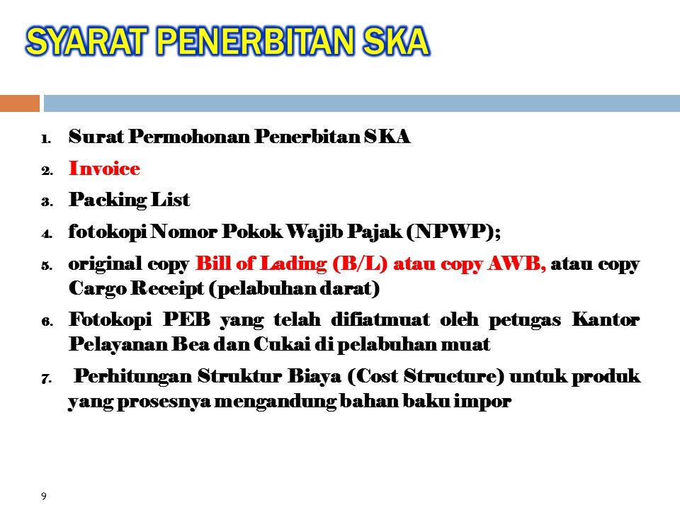 1.Surat Permohonan Penerbitan SKA 2. Invoice 3. Packing List 4.