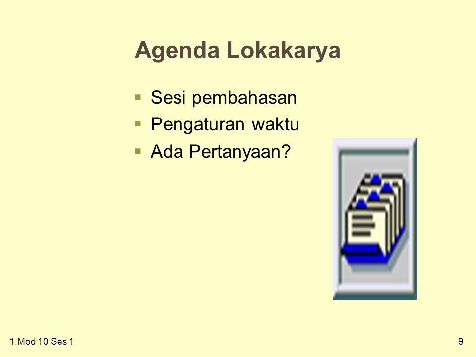 91.Mod 10 Ses 1 Agenda Lokakarya  Sesi pembahasan  Pengaturan waktu  Ada Pertanyaan