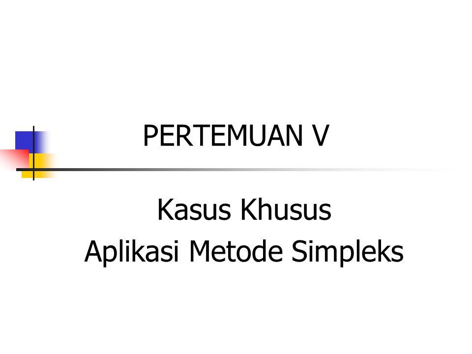 Kasus Khusus Metode Simpleks 1.Degenerasi 2.Optimum Alternatif 3.Solusi Unbounded 4.Solusi Infeasible