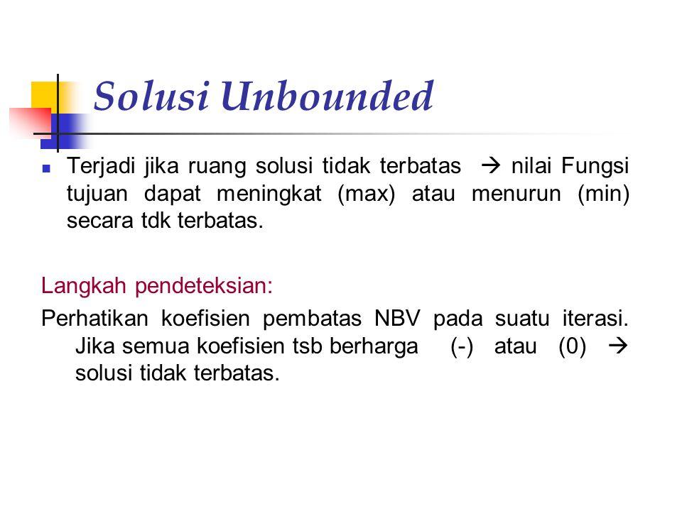 Solusi Unbounded Terjadi jika ruang solusi tidak terbatas  nilai Fungsi tujuan dapat meningkat (max) atau menurun (min) secara tdk terbatas. Langkah