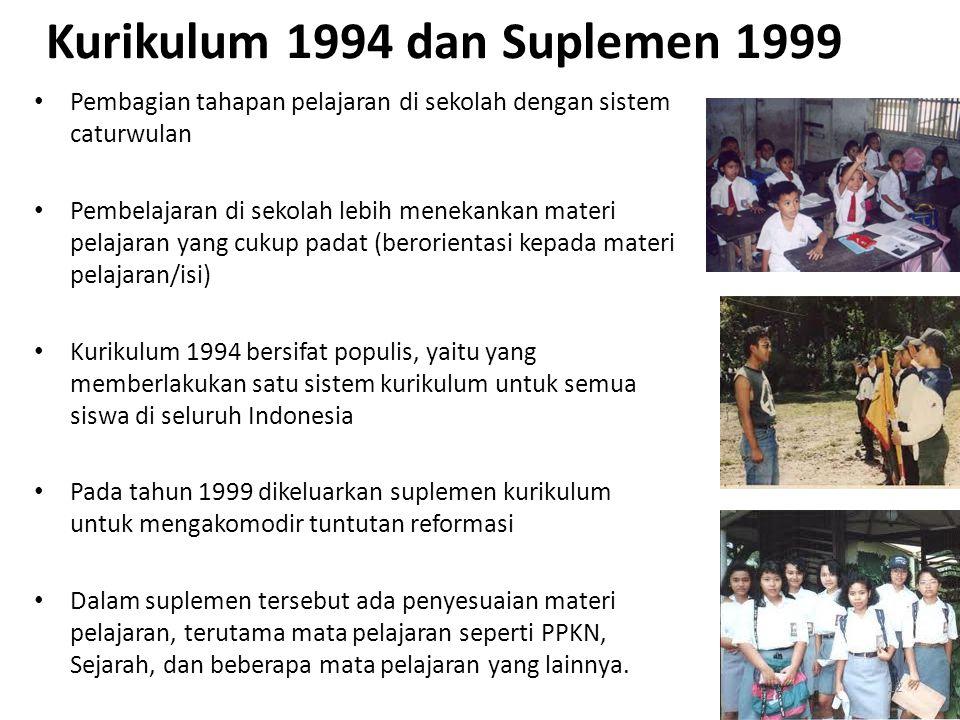 Kurikulum 1994 dan Suplemen 1999 Pembagian tahapan pelajaran di sekolah dengan sistem caturwulan Pembelajaran di sekolah lebih menekankan materi pelajaran yang cukup padat (berorientasi kepada materi pelajaran/isi) Kurikulum 1994 bersifat populis, yaitu yang memberlakukan satu sistem kurikulum untuk semua siswa di seluruh Indonesia Pada tahun 1999 dikeluarkan suplemen kurikulum untuk mengakomodir tuntutan reformasi Dalam suplemen tersebut ada penyesuaian materi pelajaran, terutama mata pelajaran seperti PPKN, Sejarah, dan beberapa mata pelajaran yang lainnya.