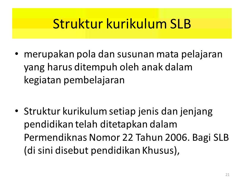 Struktur kurikulum SLB merupakan pola dan susunan mata pelajaran yang harus ditempuh oleh anak dalam kegiatan pembelajaran Struktur kurikulum setiap jenis dan jenjang pendidikan telah ditetapkan dalam Permendiknas Nomor 22 Tahun 2006.