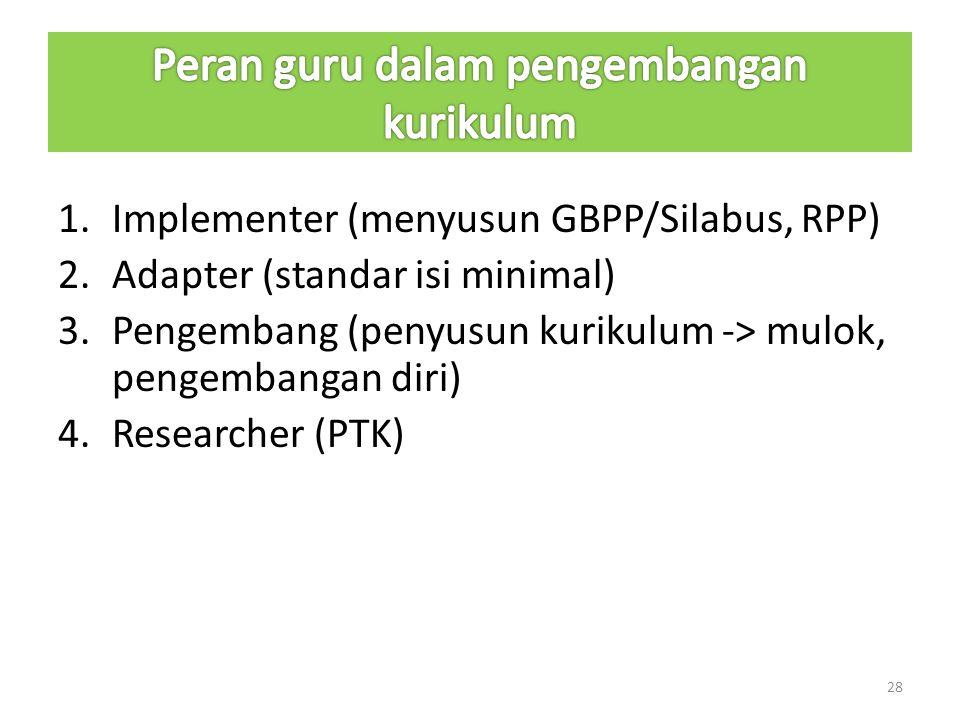 1.Implementer (menyusun GBPP/Silabus, RPP) 2.Adapter (standar isi minimal) 3.Pengembang (penyusun kurikulum -> mulok, pengembangan diri) 4.Researcher (PTK) 28