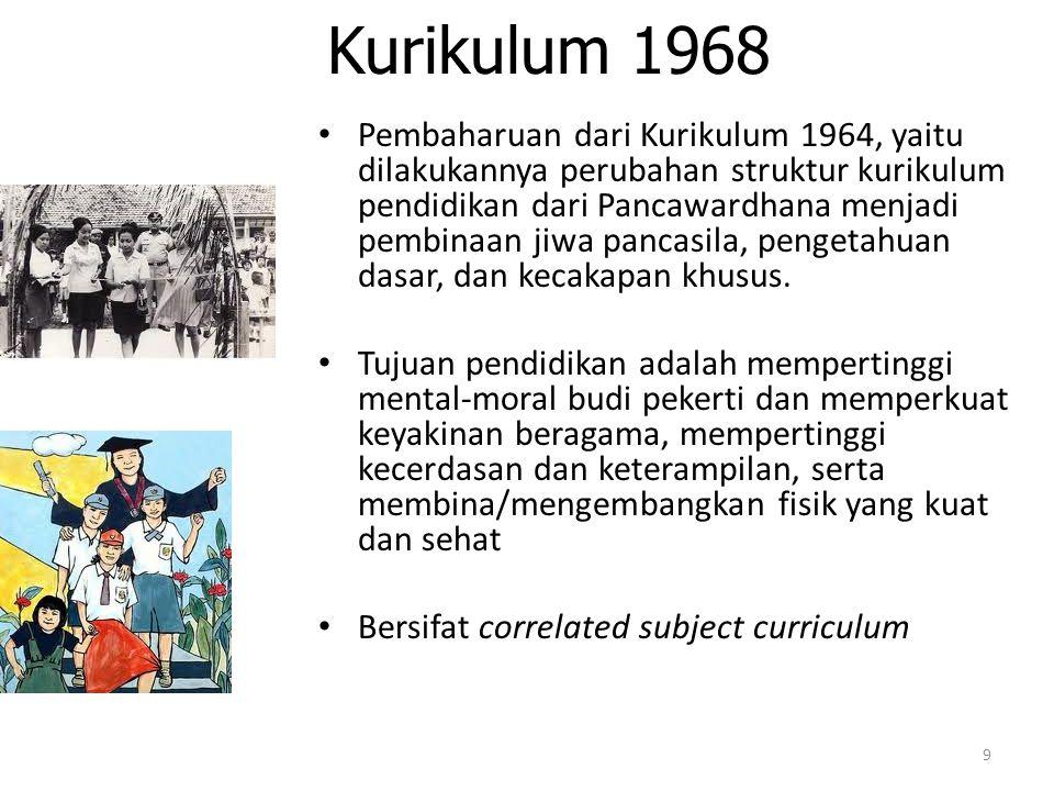 Kurikulum 1975 Bersifat integrated curriculum organization Kelemahan kurikulum 1975 adalah digantinya buku-buku sebagai acuan sehingga kurikulum menjadi tidak menguntungkan dan kurang memberi makna.