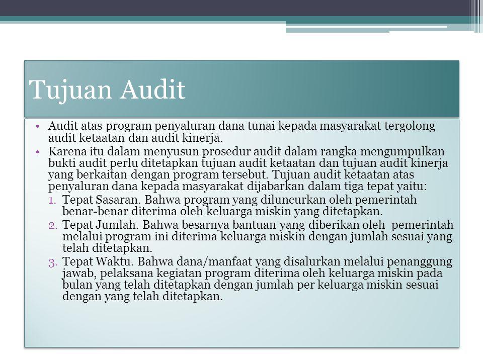 Tujuan Audit Audit atas program penyaluran dana tunai kepada masyarakat tergolong audit ketaatan dan audit kinerja. Karena itu dalam menyusun prosedur