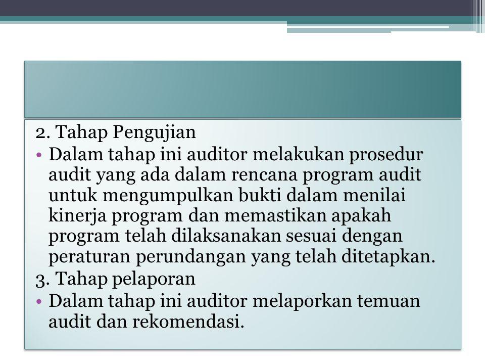 2. Tahap Pengujian Dalam tahap ini auditor melakukan prosedur audit yang ada dalam rencana program audit untuk mengumpulkan bukti dalam menilai kinerj