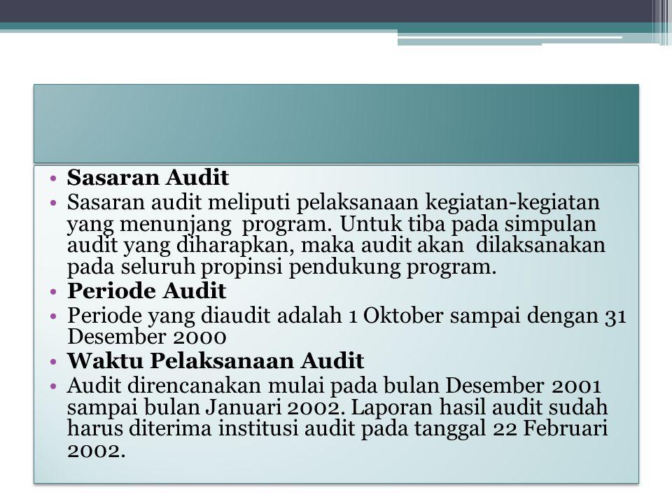 Sasaran Audit Sasaran audit meliputi pelaksanaan kegiatan-kegiatan yang menunjang program. Untuk tiba pada simpulan audit yang diharapkan, maka audit