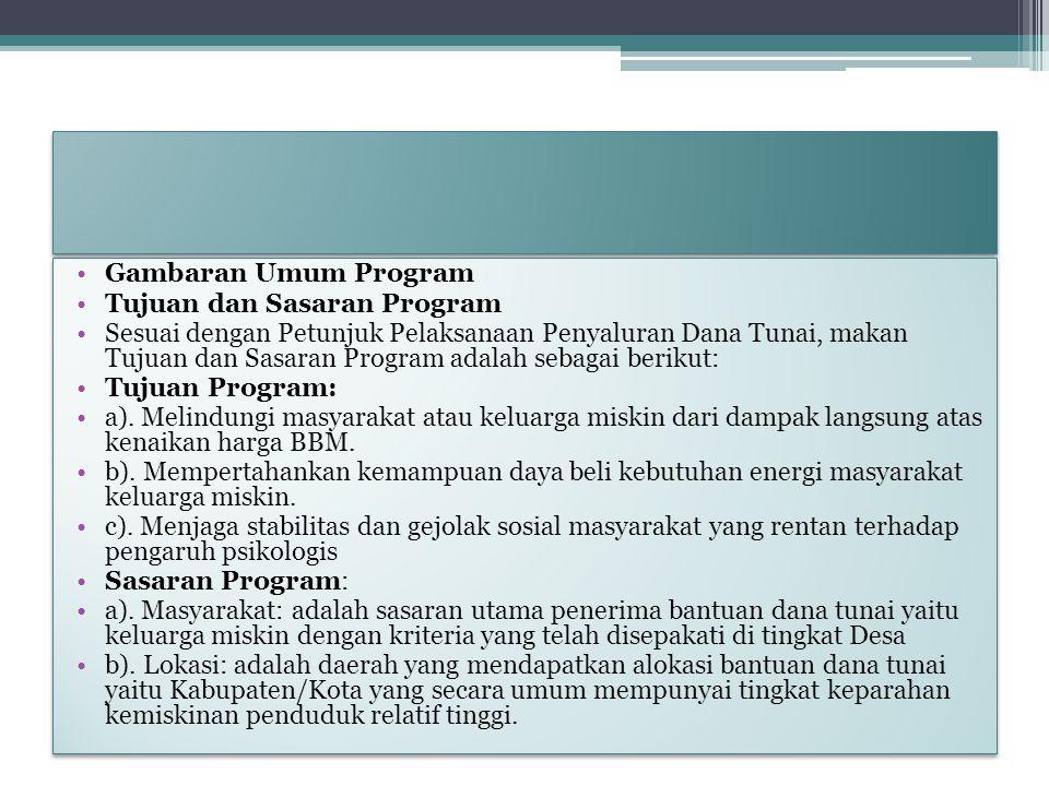 Gambaran Umum Program Tujuan dan Sasaran Program Sesuai dengan Petunjuk Pelaksanaan Penyaluran Dana Tunai, makan Tujuan dan Sasaran Program adalah seb