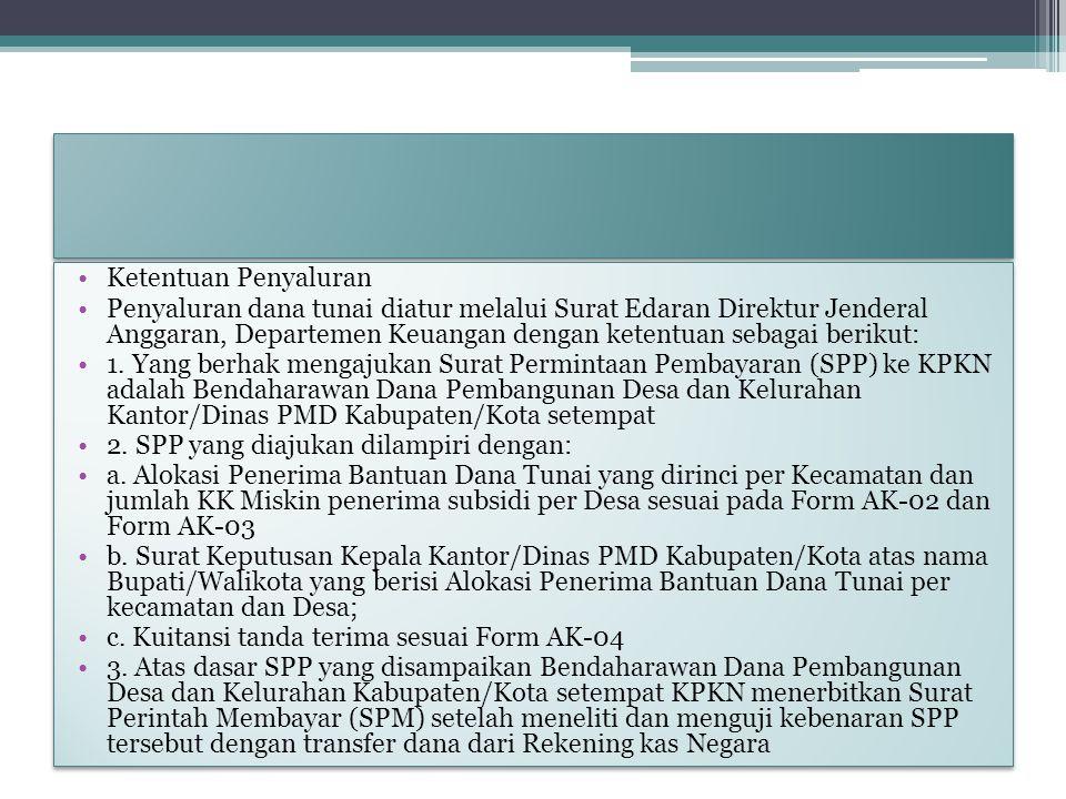 Ketentuan Penyaluran Penyaluran dana tunai diatur melalui Surat Edaran Direktur Jenderal Anggaran, Departemen Keuangan dengan ketentuan sebagai beriku