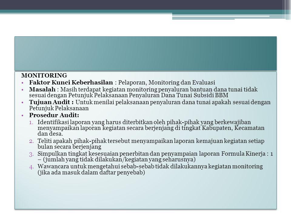 MONITORING Faktor Kunci Keberhasilan : Pelaporan, Monitoring dan Evaluasi Masalah : Masih terdapat kegiatan monitoring penyaluran bantuan dana tunai t