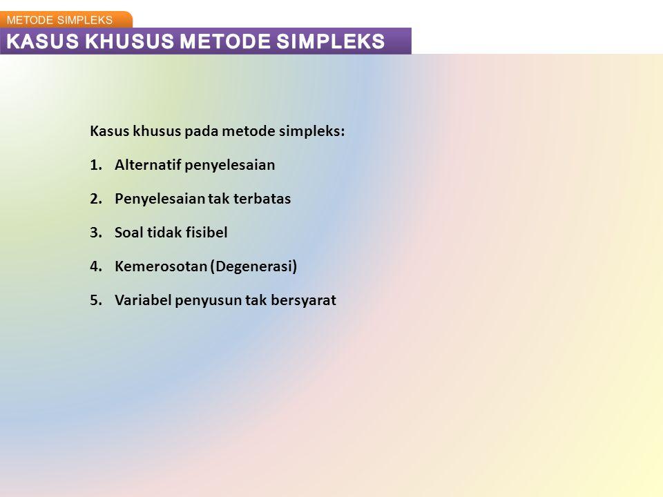 Kasus khusus pada metode simpleks: 1.Alternatif penyelesaian 2.Penyelesaian tak terbatas 3.Soal tidak fisibel 4.Kemerosotan (Degenerasi) 5.Variabel pe