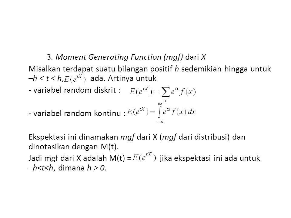 3. Moment Generating Function (mgf) dari X Misalkan terdapat suatu bilangan positif h sedemikian hingga untuk –h < t < h, ada. Artinya untuk - variabe