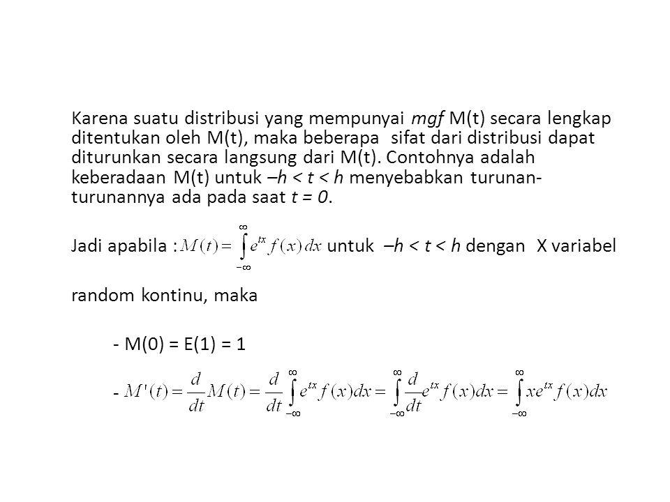 Karena suatu distribusi yang mempunyai mgf M(t) secara lengkap ditentukan oleh M(t), maka beberapa sifat dari distribusi dapat diturunkan secara langsung dari M(t).