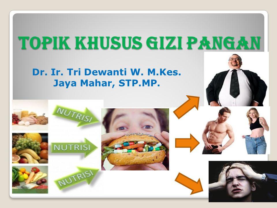 TOPIK KHUSUS GIZI PANGAN 3 sks  Pokok Bahasan Klas A : 1.