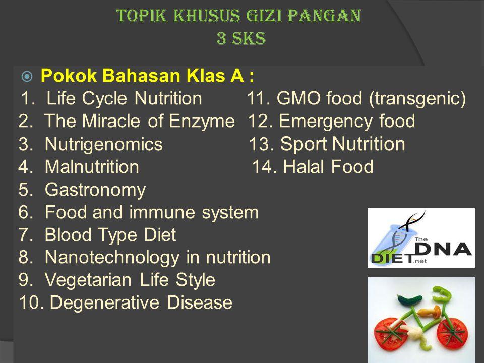 TOPIK KHUSUS GIZI PANGAN 3 sks  Pokok Bahasan Klas A : 1. Life Cycle Nutrition 11. GMO food (transgenic) 2. The Miracle of Enzyme 12. Emergency food