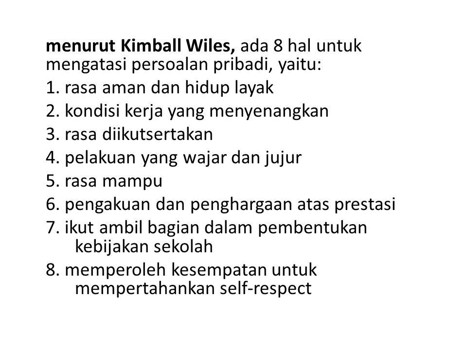 menurut Kimball Wiles, ada 8 hal untuk mengatasi persoalan pribadi, yaitu: 1. rasa aman dan hidup layak 2. kondisi kerja yang menyenangkan 3. rasa dii