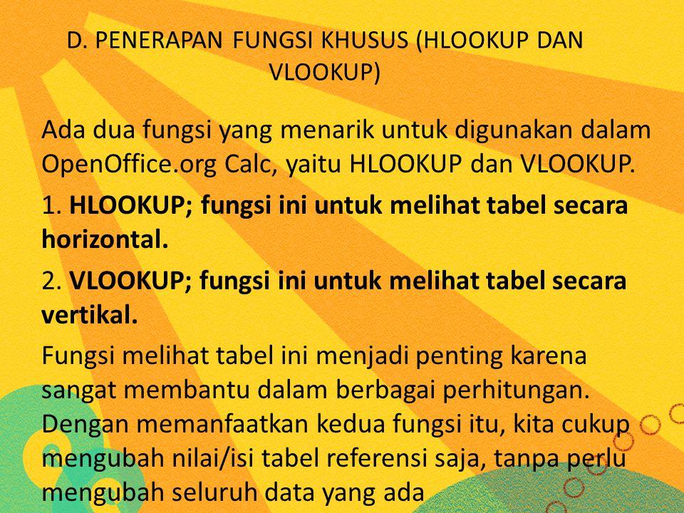 D. PENERAPAN FUNGSI KHUSUS (HLOOKUP DAN VLOOKUP) Ada dua fungsi yang menarik untuk digunakan dalam OpenOffice.org Calc, yaitu HLOOKUP dan VLOOKUP. 1.