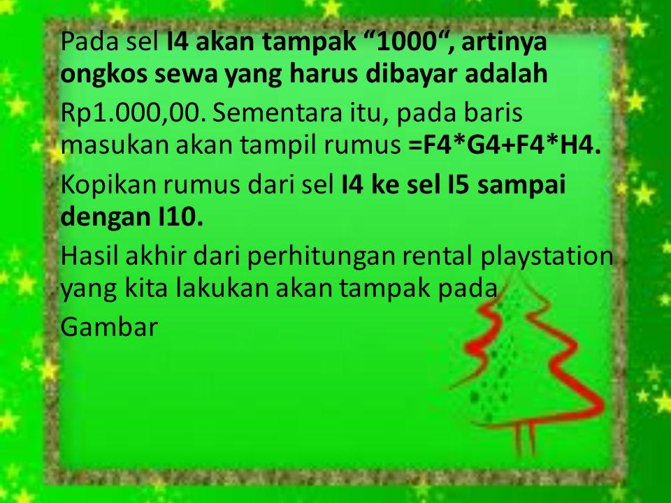 """Pada sel I4 akan tampak """"1000"""", artinya ongkos sewa yang harus dibayar adalah Rp1.000,00. Sementara itu, pada baris masukan akan tampil rumus =F4*G4+F"""