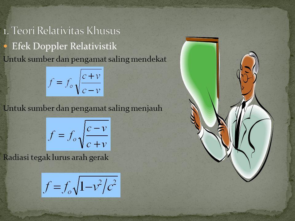Efek Doppler Relativistik Untuk sumber dan pengamat saling mendekat Untuk sumber dan pengamat saling menjauh Radiasi tegak lurus arah gerak