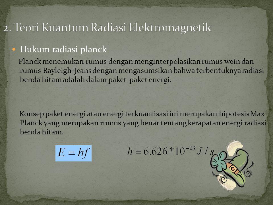 Hukum radiasi planck Planck menemukan rumus dengan menginterpolasikan rumus wein dan rumus Rayleigh-Jeans dengan mengasumsikan bahwa terbentuknya radiasi benda hitam adalah dalam paket-paket energi.