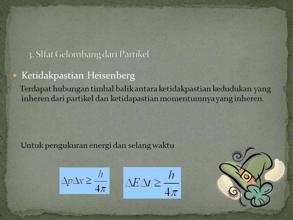 Ketidakpastian Heisenberg Terdapat hubungan timbal balik antara ketidakpastian kedudukan yang inheren dari partikel dan ketidapastian momentumnya yang inheren.
