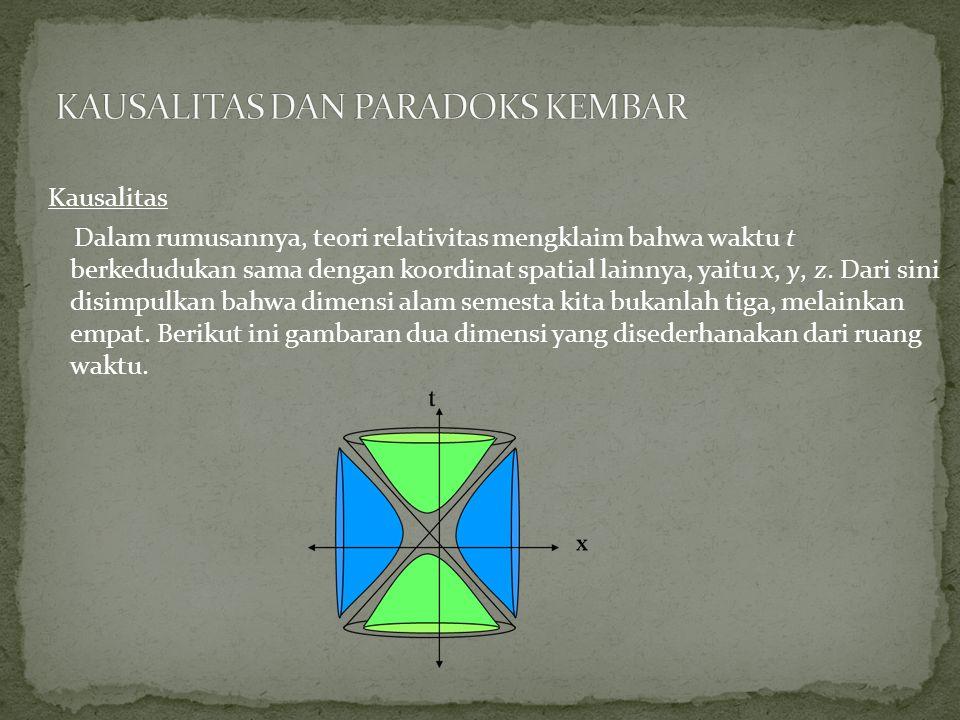 Kausalitas Dalam rumusannya, teori relativitas mengklaim bahwa waktu t berkedudukan sama dengan koordinat spatial lainnya, yaitu x, y, z.