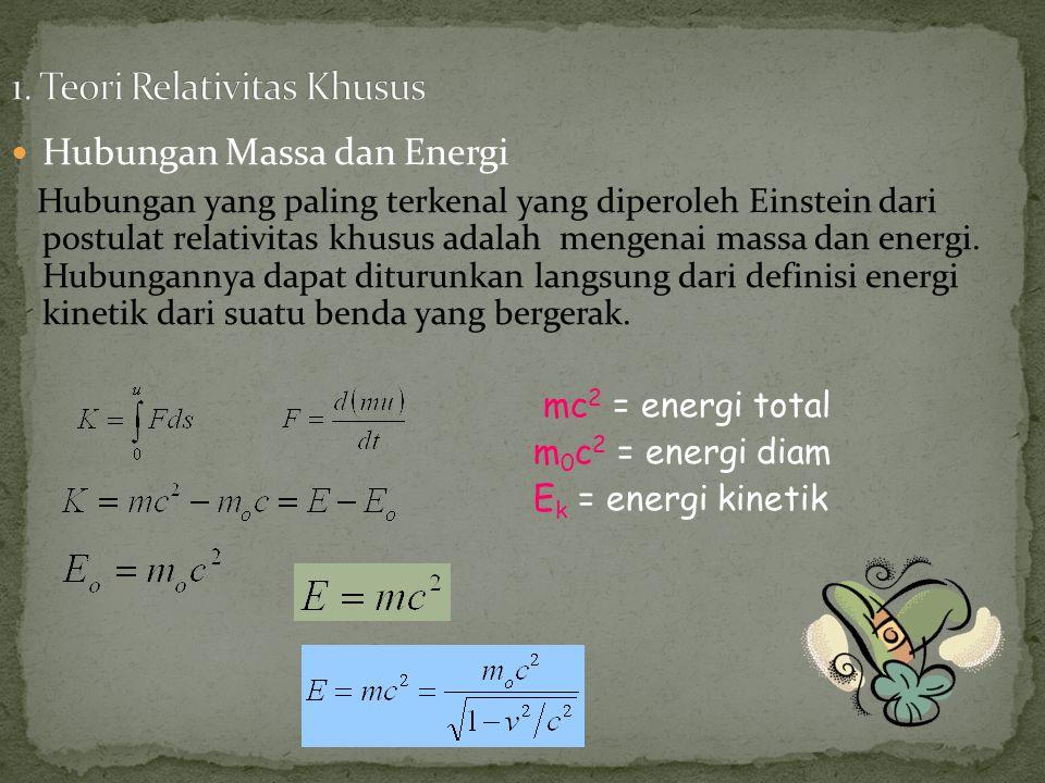 Hubungan Massa dan Energi Hubungan yang paling terkenal yang diperoleh Einstein dari postulat relativitas khusus adalah mengenai massa dan energi.