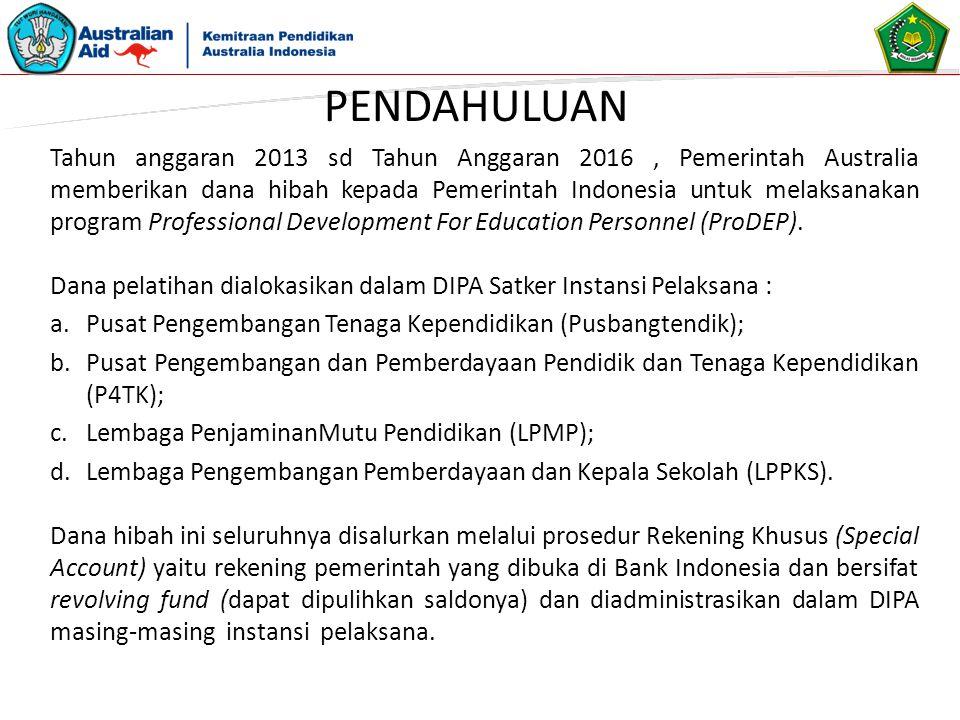 Pengeluaran yang Memenuhi Persyaratan (eligible expenses) Adalah pengeluaran-pengeluaran atas Surat Perintah Pencairan Dana (SP2D) Reksus berdasarkan Surat Perintah Membayar (SPM) Reksus yang diajukan oleh PA/KPA yang dapat dibiayai sesuai dengan ketentuan sebagaimana diatur dalam Perjanjian Hibah dan Peraturan Pemerintah Indonesia misalnya : 1.Akomodasi 2.Transportasi 3.Uang Harian 4.Nara Sumber (Jika melakukan kegiatan yang berbeda dari tupoksi yang diemban di jabatannya) 5.Biaya administrasi workshop seperti ATK, fotocopy, flash disk untuk peserta workshop dan panitia.