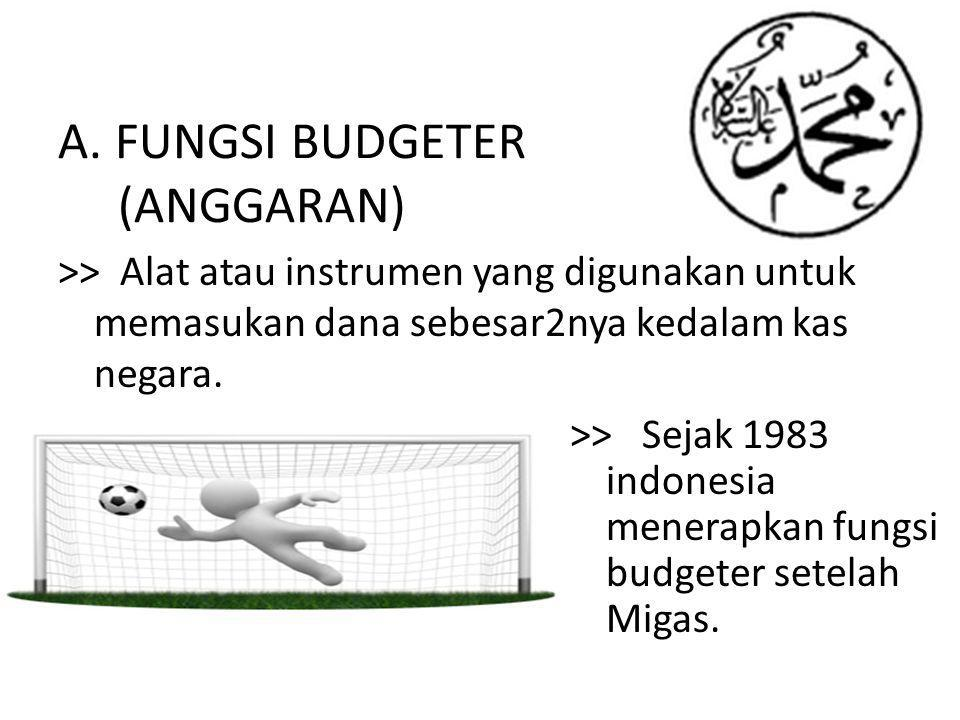 A. FUNGSI BUDGETER (ANGGARAN) >> Alat atau instrumen yang digunakan untuk memasukan dana sebesar2nya kedalam kas negara. >> Sejak 1983 indonesia mener