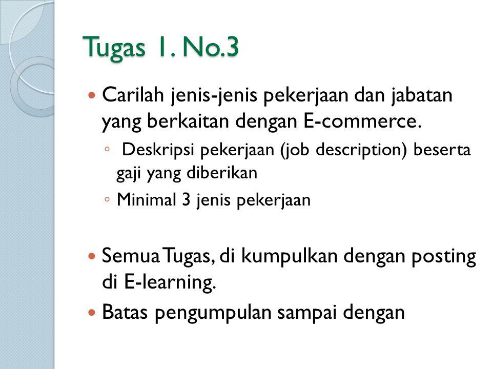 Tugas 1. No.3 Carilah jenis-jenis pekerjaan dan jabatan yang berkaitan dengan E-commerce. ◦ Deskripsi pekerjaan (job description) beserta gaji yang di