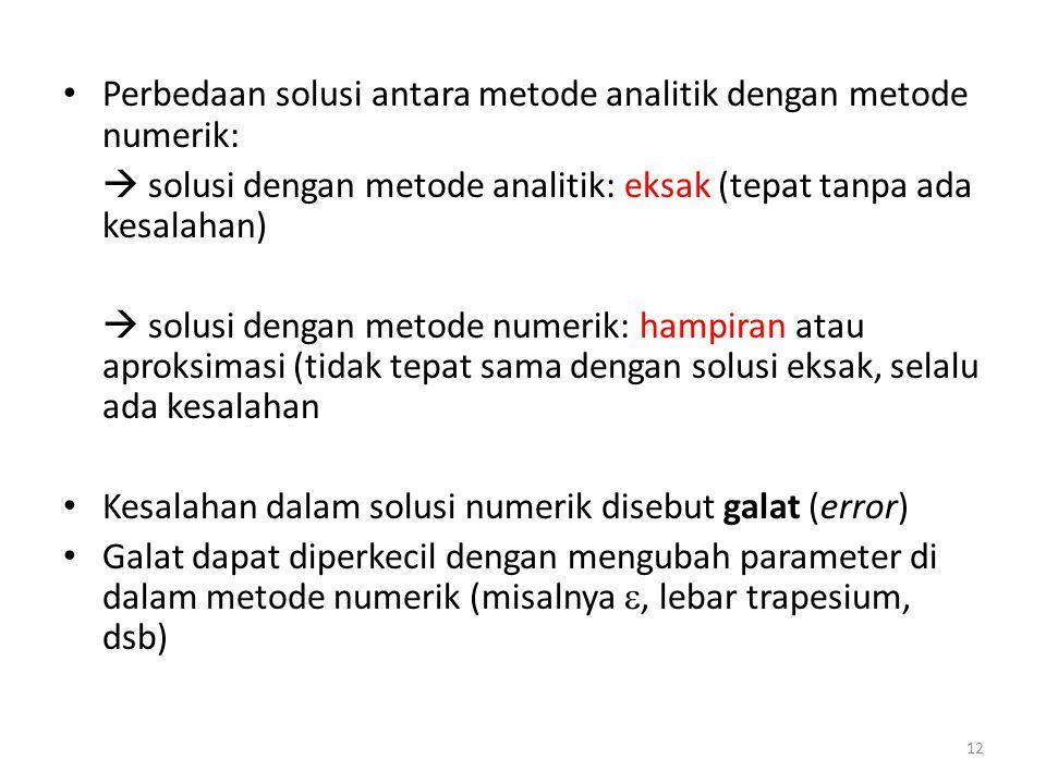 Perbedaan solusi antara metode analitik dengan metode numerik:  solusi dengan metode analitik: eksak (tepat tanpa ada kesalahan)  solusi dengan meto