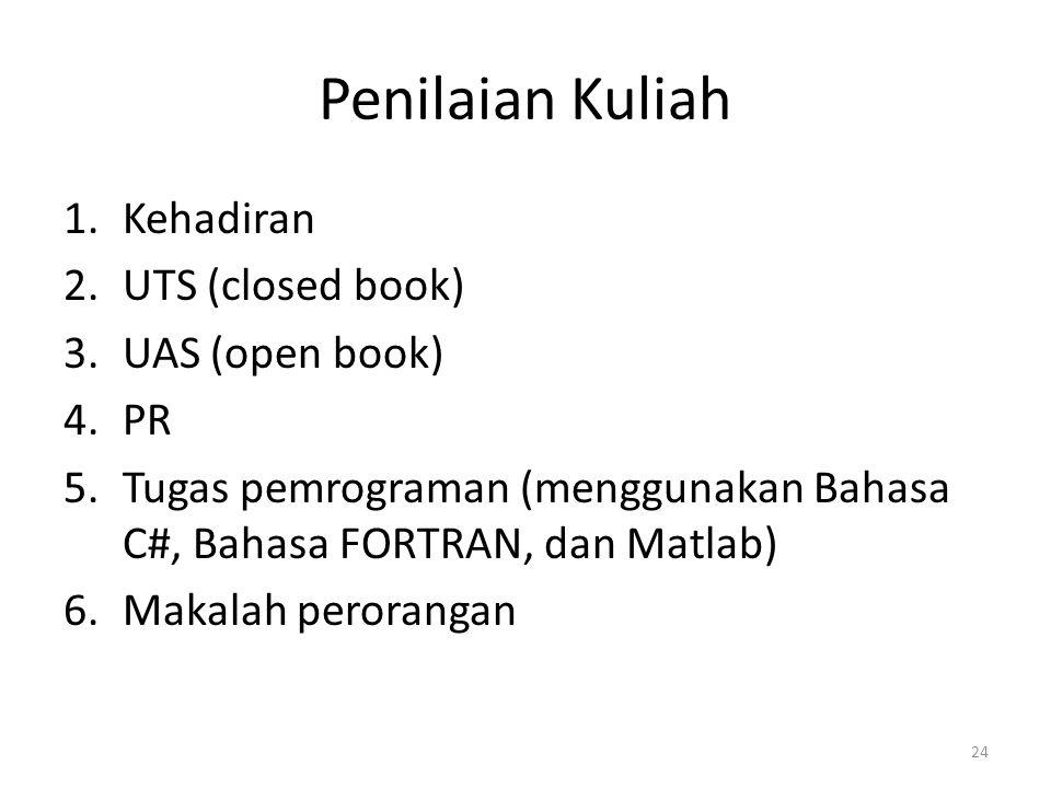 Penilaian Kuliah 1.Kehadiran 2.UTS (closed book) 3.UAS (open book) 4.PR 5.Tugas pemrograman (menggunakan Bahasa C#, Bahasa FORTRAN, dan Matlab) 6.Maka