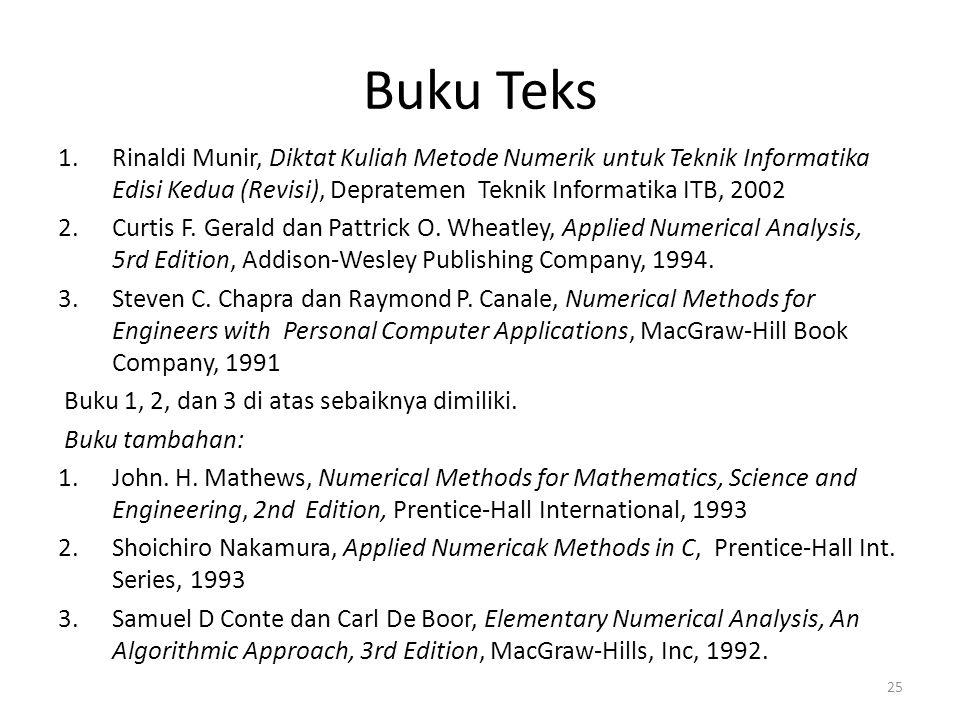 Buku Teks 1.Rinaldi Munir, Diktat Kuliah Metode Numerik untuk Teknik Informatika Edisi Kedua (Revisi), Depratemen Teknik Informatika ITB, 2002 2.Curti