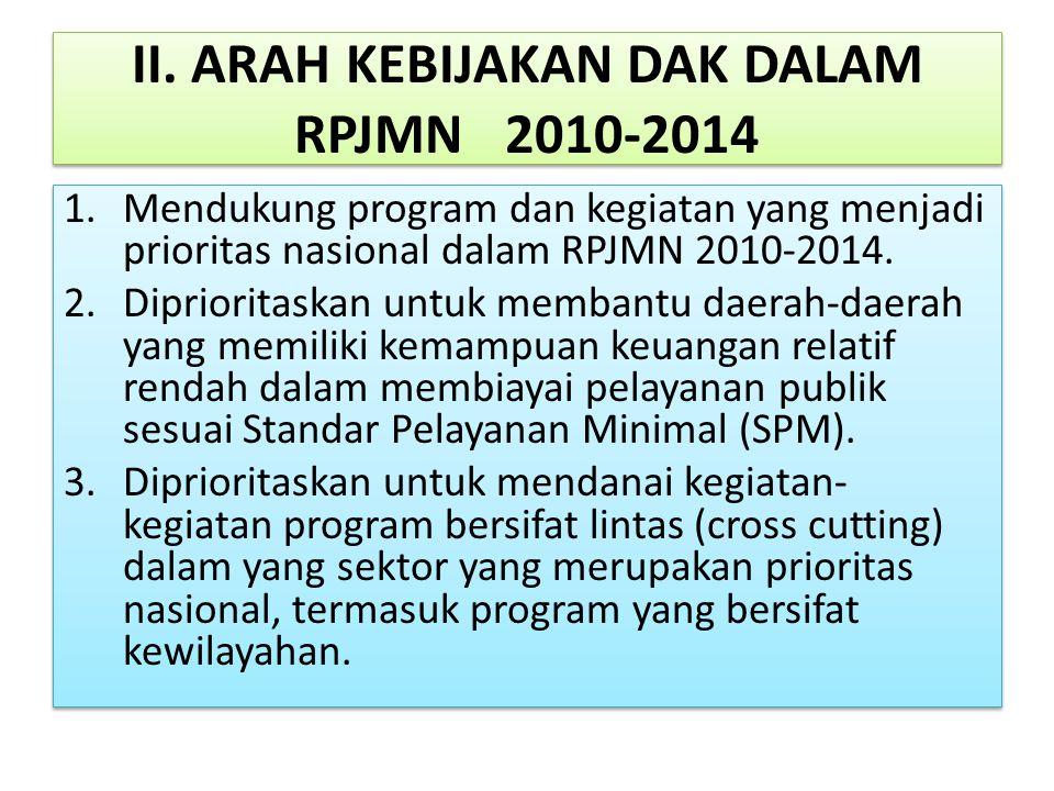II. ARAH KEBIJAKAN DAK DALAM RPJMN2010-2014 1.Mendukung program dan kegiatan yang menjadi prioritas nasional dalam RPJMN 2010-2014. 2.Diprioritaskan u