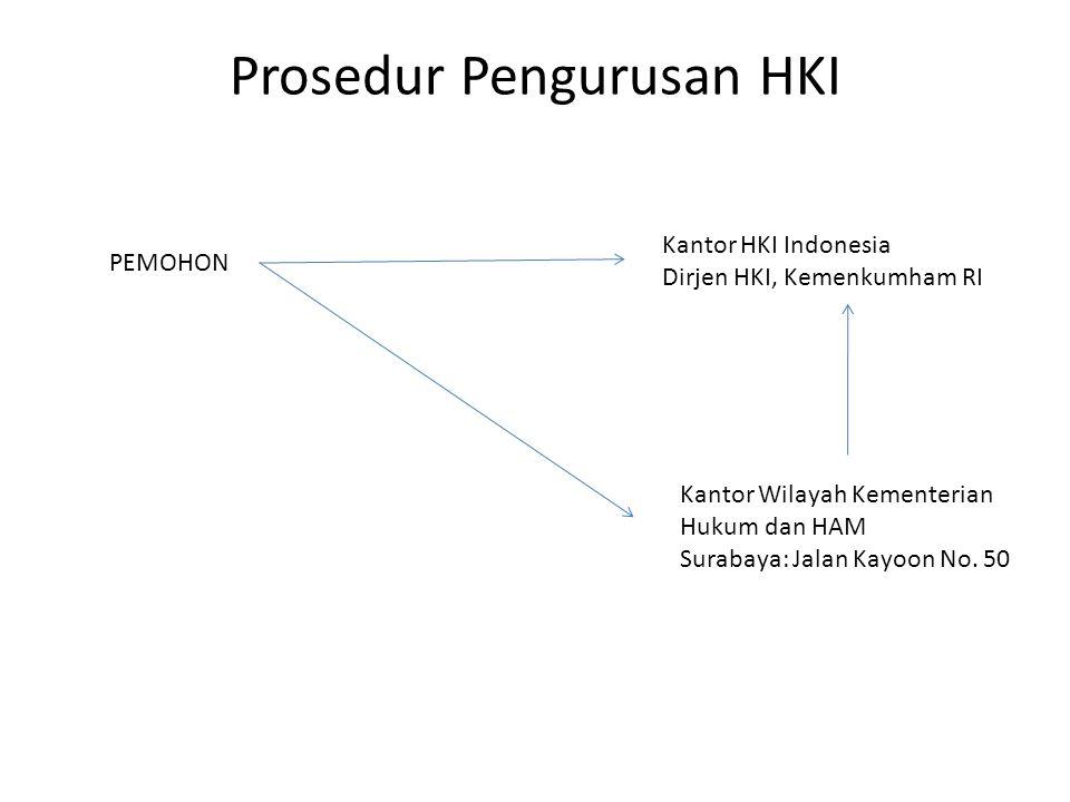 Prosedur Pengurusan HKI PEMOHON Kantor HKI Indonesia Dirjen HKI, Kemenkumham RI Kantor Wilayah Kementerian Hukum dan HAM Surabaya: Jalan Kayoon No. 50