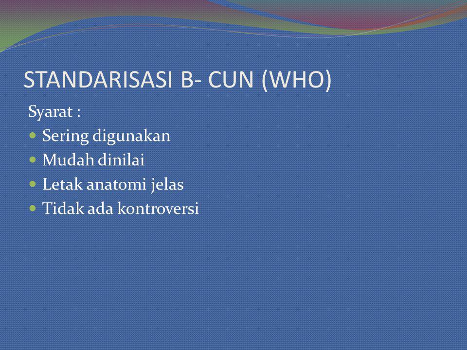 STANDARISASI B- CUN (WHO) Syarat : Sering digunakan Mudah dinilai Letak anatomi jelas Tidak ada kontroversi