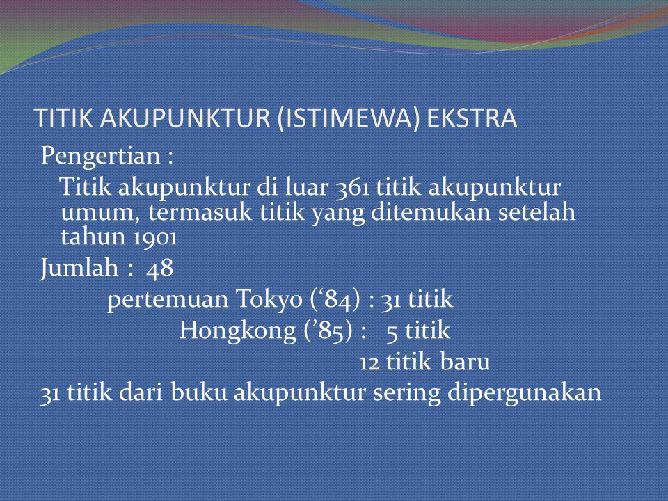 TITIK AKUPUNKTUR (ISTIMEWA) EKSTRA Pengertian : Titik akupunktur di luar 361 titik akupunktur umum, termasuk titik yang ditemukan setelah tahun 1901 Jumlah : 48 pertemuan Tokyo ('84) : 31 titik Hongkong ('85) : 5 titik 12 titik baru 31 titik dari buku akupunktur sering dipergunakan
