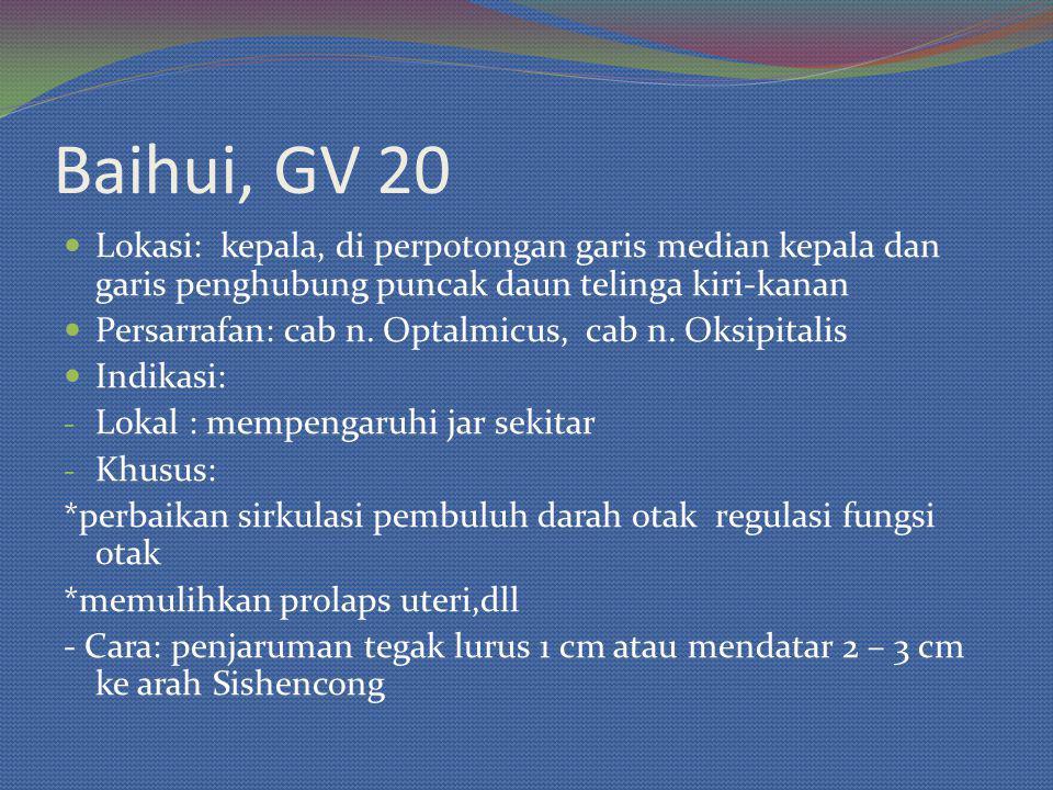 Baihui, GV 20 Lokasi: kepala, di perpotongan garis median kepala dan garis penghubung puncak daun telinga kiri-kanan Persarrafan: cab n.