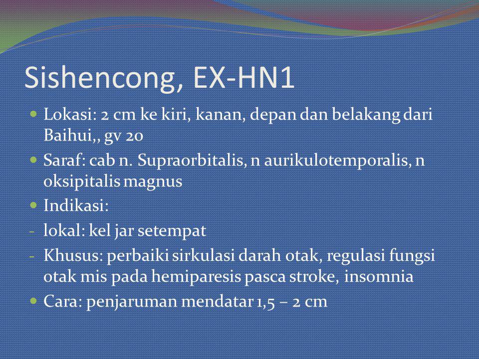 Sishencong, EX-HN1 Lokasi: 2 cm ke kiri, kanan, depan dan belakang dari Baihui,, gv 20 Saraf: cab n.