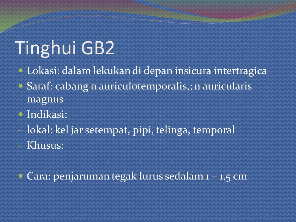 Tinghui GB2 Lokasi: dalam lekukan di depan insicura intertragica Saraf: cabang n auriculotemporalis,; n auricularis magnus Indikasi: - lokal: kel jar