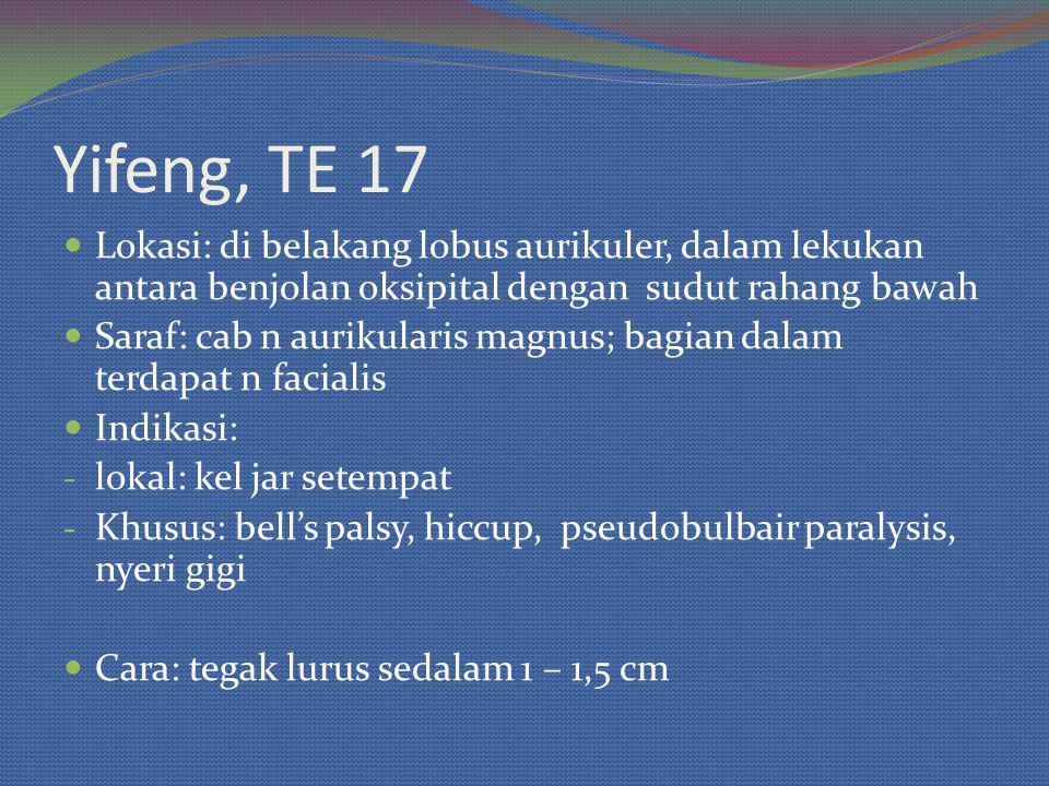 Yifeng, TE 17 Lokasi: di belakang lobus aurikuler, dalam lekukan antara benjolan oksipital dengan sudut rahang bawah Saraf: cab n aurikularis magnus; bagian dalam terdapat n facialis Indikasi: - lokal: kel jar setempat - Khusus: bell's palsy, hiccup, pseudobulbair paralysis, nyeri gigi Cara: tegak lurus sedalam 1 – 1,5 cm