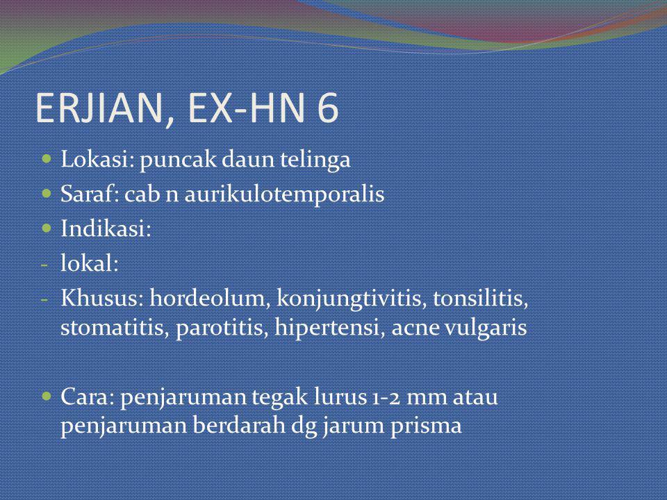 ERJIAN, EX-HN 6 Lokasi: puncak daun telinga Saraf: cab n aurikulotemporalis Indikasi: - lokal: - Khusus: hordeolum, konjungtivitis, tonsilitis, stomat