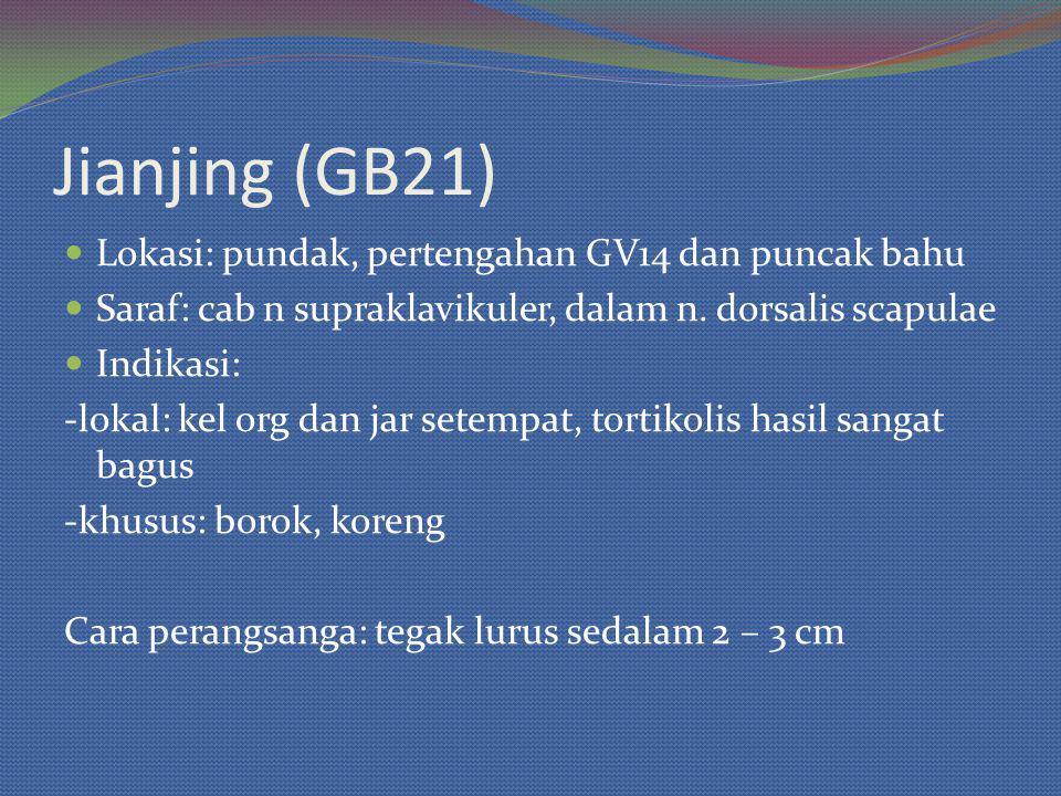 Jianjing (GB21) Lokasi: pundak, pertengahan GV14 dan puncak bahu Saraf: cab n supraklavikuler, dalam n.